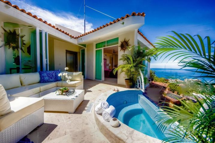 Villa property includes  Multi level with over 17 000 sq  ft   nine bedrooms  all with private baths  views  mini split air conditioning and TV  with  jacuzzi. Casa Yvonneka Puerto Vallarta Villa Rental 6 12 Bedroom   Gay