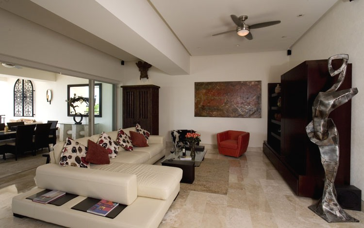 Living Room And Balcony With Stylish Decor And Furniture ...