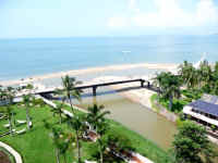 Cuale River and the walkway bridge of the New Malecon into downtown el centro puerto vallarta