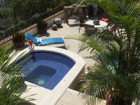 selva romantica Casita Feliz outdoor lounging-dining terrace and private heated dipping pool