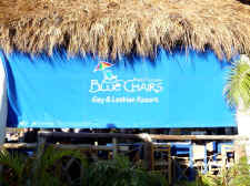 blue chairs gay hotel resort beachfront in puerto vallarta