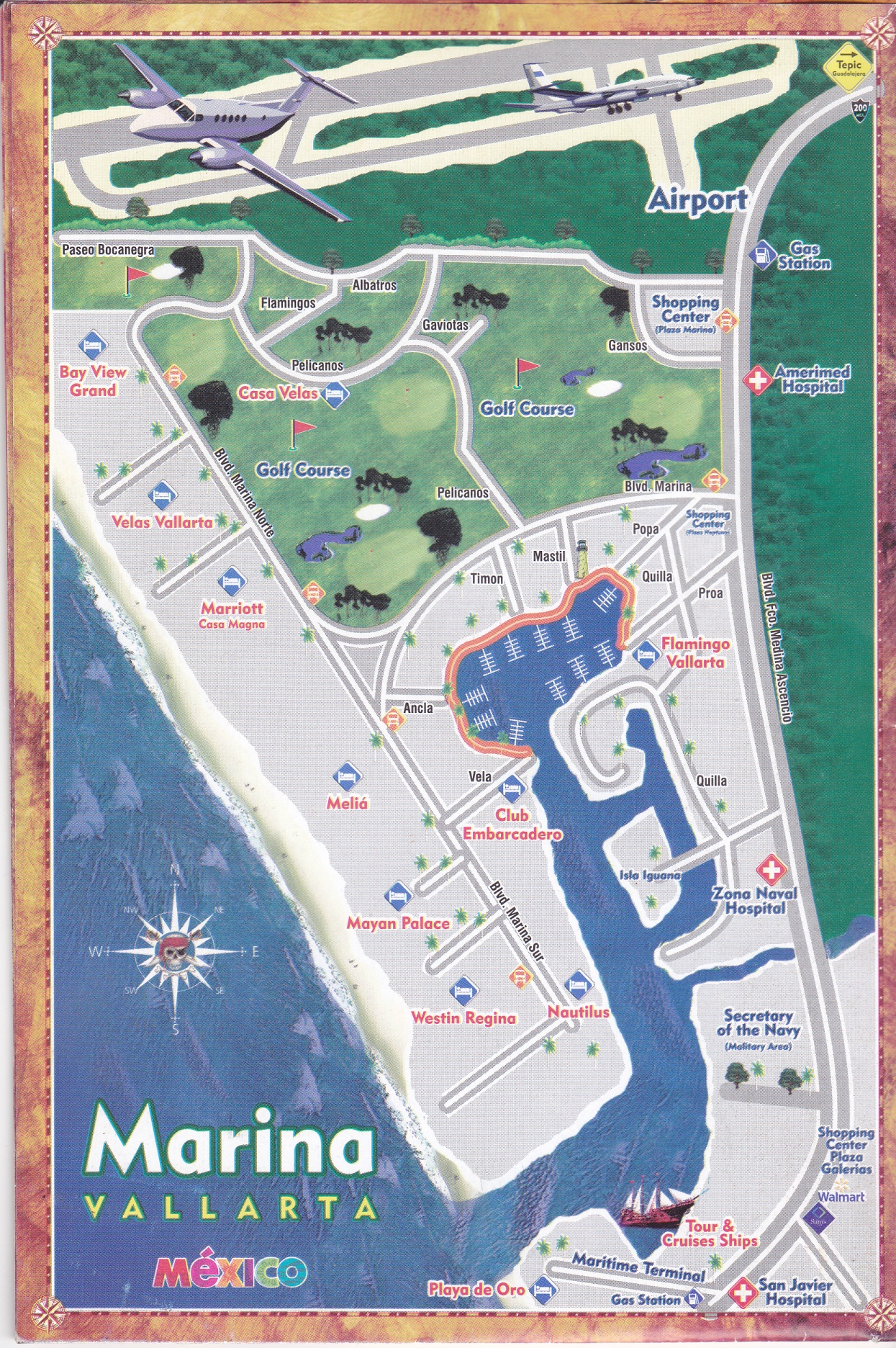 the marina in vallarta a map