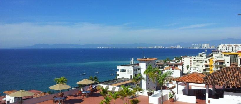 puerto vallarta looking north and Banderas Bay in Mexico